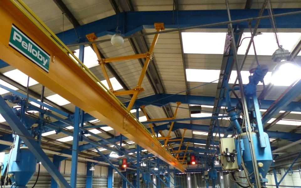 Monorail Ceiling Crane with Pelloby Logo