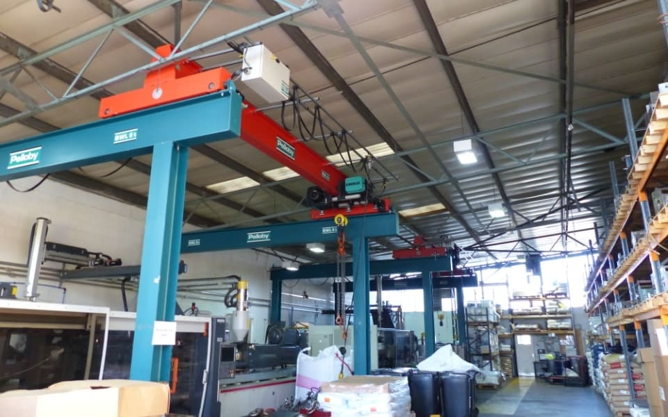 Two Pelloby Single Girder Overhead Cranes