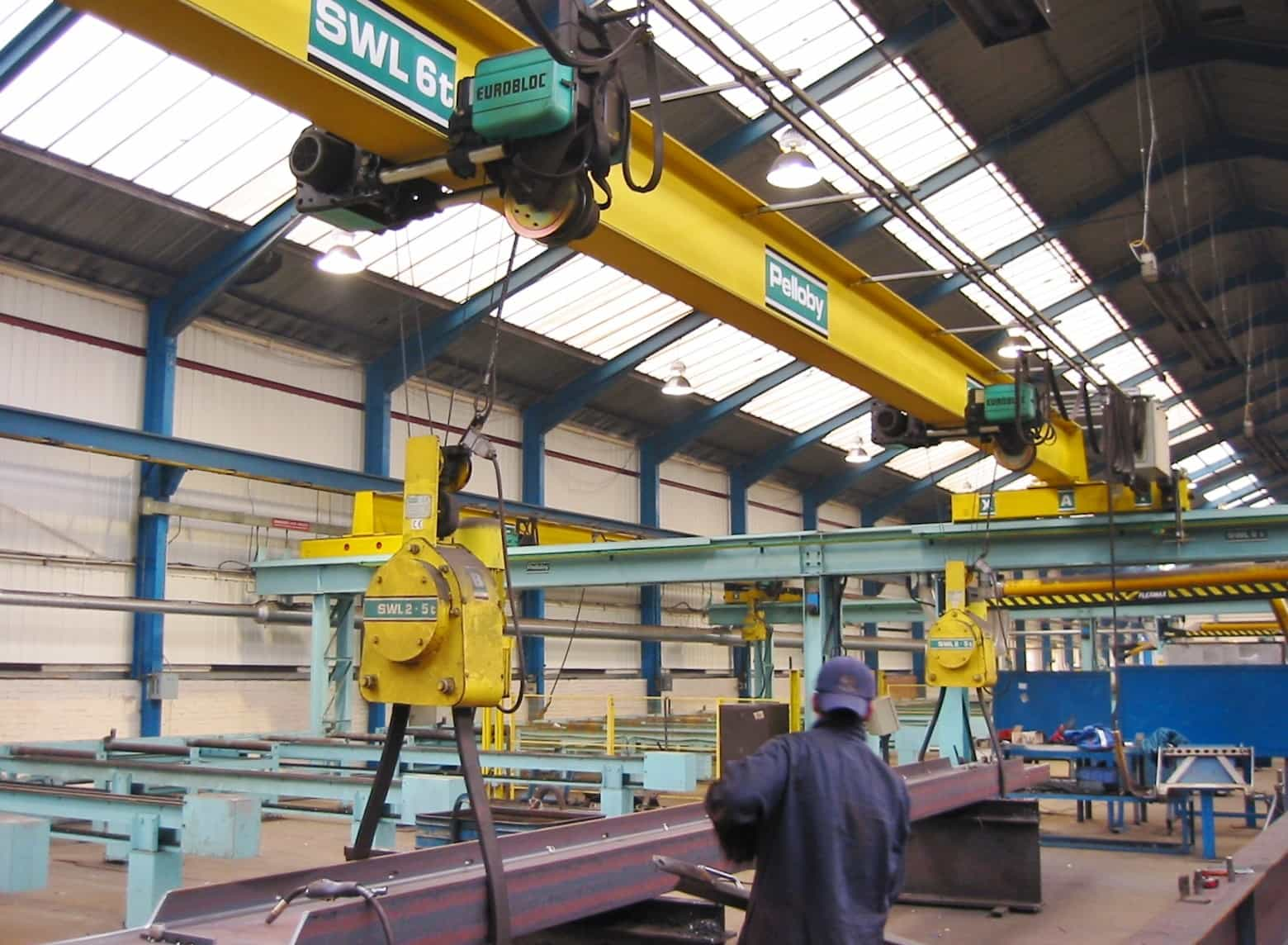Pelloby load turning unit attached to 6 tonne overhead crane