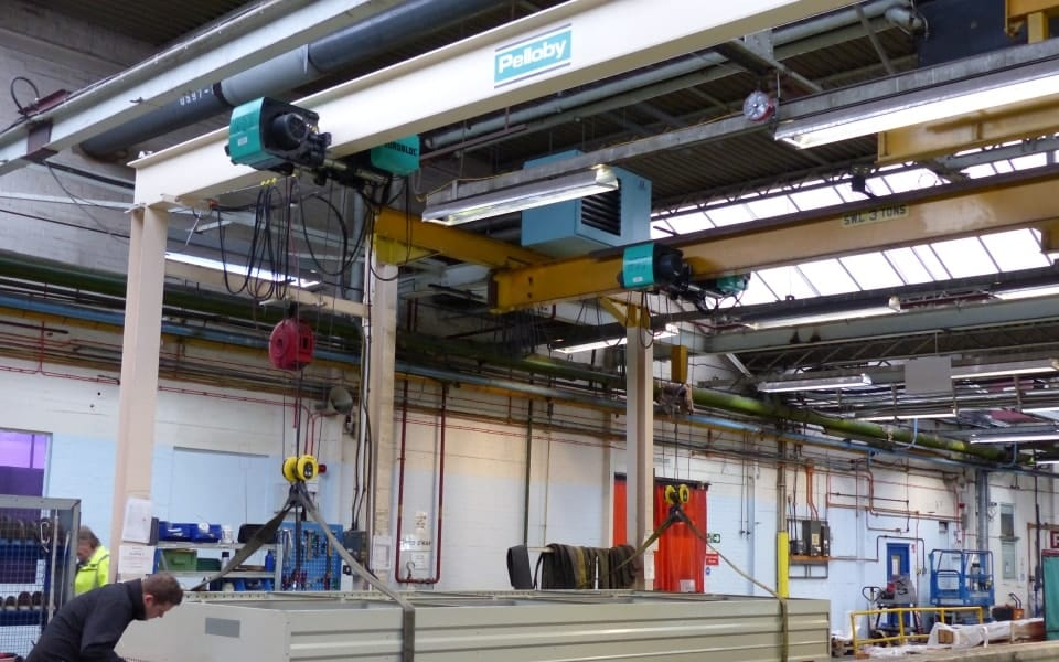 Two Goal Post Supported Monorail Cranes
