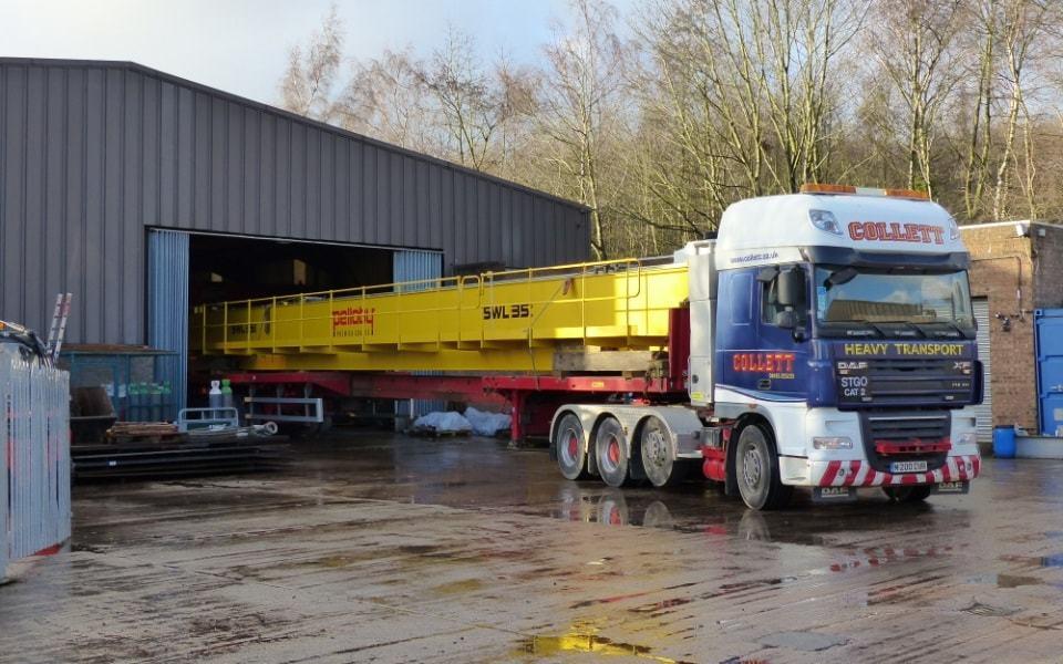 35 tonne double girder overhead leaving the Pelloby factory