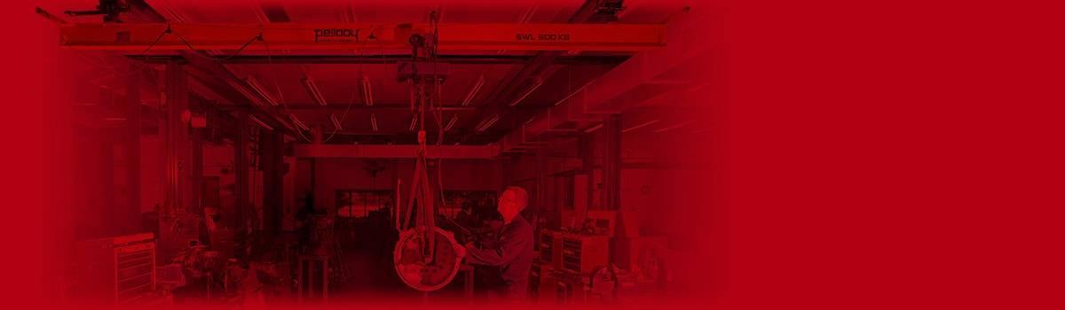 Overhead crane in workshop