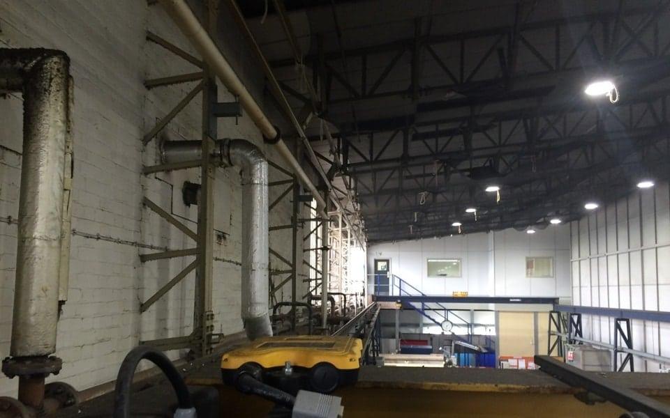 Monorail beam on gantry steelwork at Safran