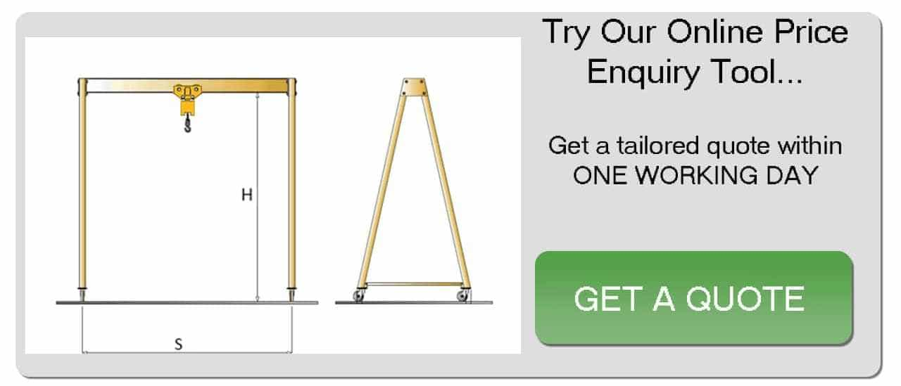 One working day A-frame crane price enquiry button