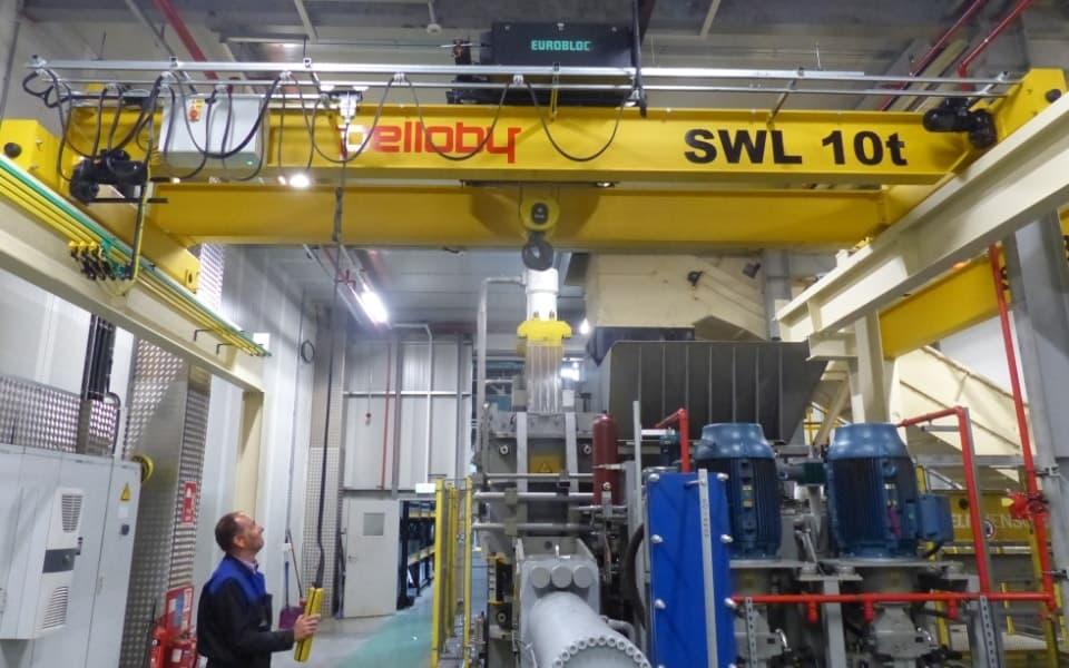 Operator Using Pelloby Overhead Crane