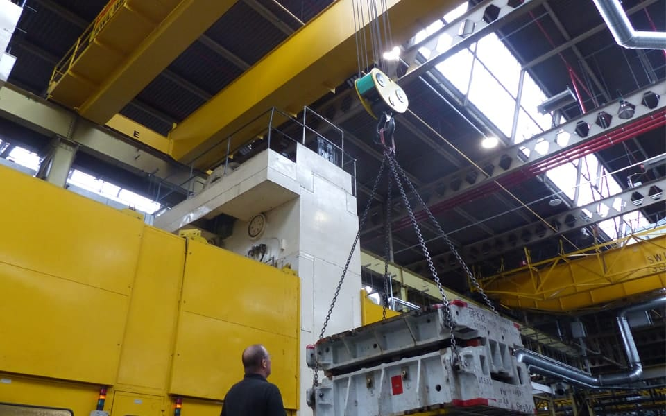 Overhead Crane Performing Lift
