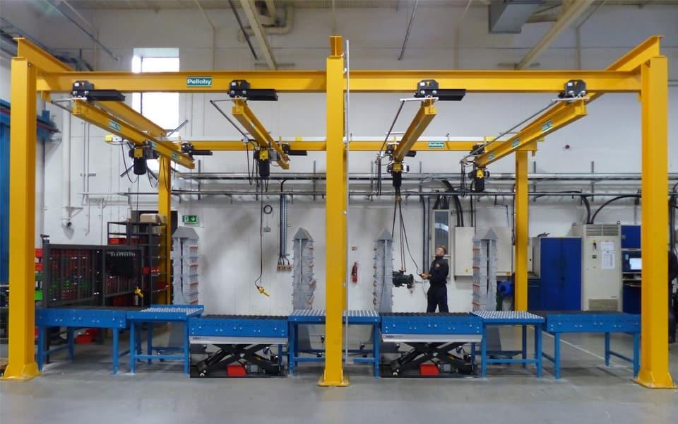 Underslung manual cranes on gantry steelwork